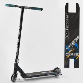 Трюковый самокат Best Scooter CRASH HIC-система, ПЕГИ, алюминиевый диск и дека, колёса 110мм PU, 37890, черно-синий