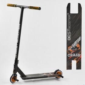 Трюковый самокат Best Scooter CRASH HIC-система, ПЕГИ, алюминиевый диск и дека, колёса 110мм PU, 65640, черно-оранжевый