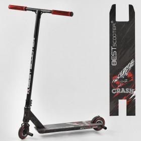 Трюковый самокат Best Scooter CRASH HIC-система, ПЕГИ, алюминиевый диск и дека, колёса 110мм PU, 67839, черно-красный