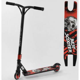 Трюковый самокат Best Scooter Skull, алюминиевый диск и дека, колёса 100мм PU, 93336, красный