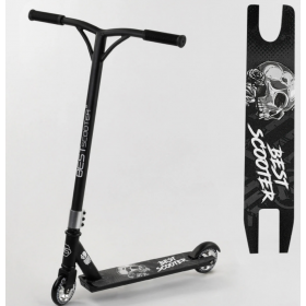 Трюковый самокат Best Scooter Skull, алюминиевый диск и дека, колёса 100мм PU, 30903, черный