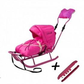 Полный комплект Санки Adbor Piccolino DeLux  розовый
