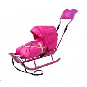 Комплект Адбор Пикколино (Санки + ручка + конверт+муфта+капюшон) розовый