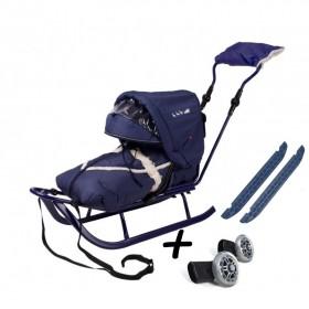 Полный комплект Санки Adbor Piccolino DeLux с колесами синий