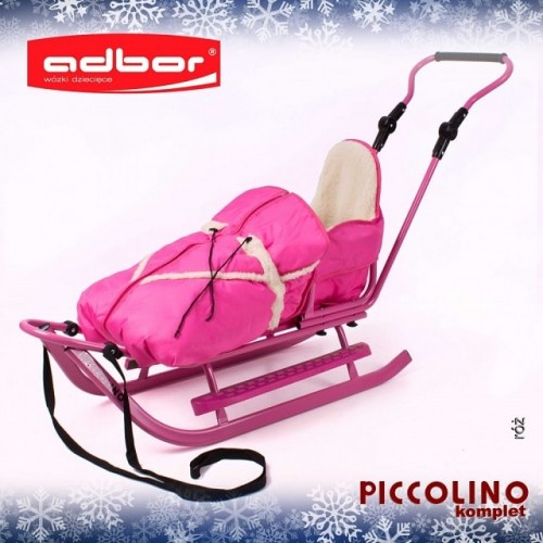 Комплект Санки c Adbor Piccolino + конверт+ подножки  розовый