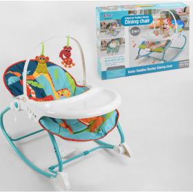 Шезлонг и детский стульчик Babycare 2в1, музыкальный блок с вибрацией, съёмная столешница, 2 подвесных грызунка, 8166, бирюзовый