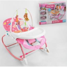 Шезлонг и детский стульчик Babycare 2в1, музыкальный блок с вибрацией, съёмная столешница, 2 подвесных грызунка, 8169, розовый