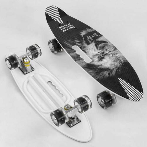 Пенни борд (Penny Board, скейт) Best Board A45220, сосветящимися колесами, отверстием для переноски, белый