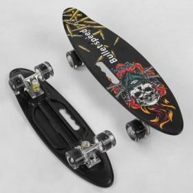 Пенні борд (Penny Board, скейт) Best Board A51722, з колесами, що світяться, отвором для переноски, чорний