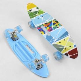 Пенні борд (Penny Board, скейт) Best Board A62470, з колесами, що світяться, отвором для переноски, блакитний