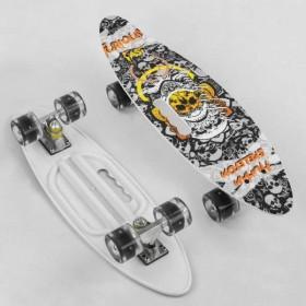 Пенні борд (Penny Board, скейт) Best Board A71090, з колесами, що світяться, отворомдля переноски, білий