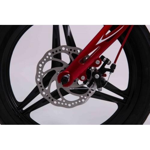 Детский велосипед MARS 12 дюймов, магниевая рама, 2 дисковых тормоза, корзина, складной руль, белый