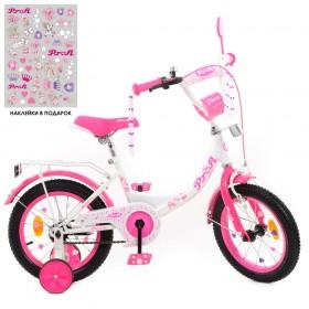 """Велосипед двоколісний Profi Princess SKD75 з наклейками 14"""" біло-малиновий"""