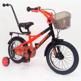 """Велосипед детский Hammer Storm 14"""" c корзинкой, бутылочкой, ремкомпелктом, родительской ручкой, оранжевый"""