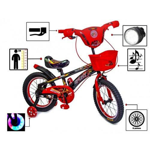 """Велосипед двухколесный Disney Girls 16"""" свето-музыкальный, красный"""