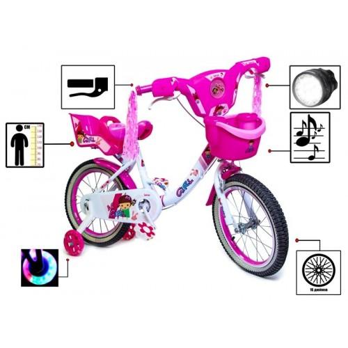 """Велосипед двухколесный Disney Girls 16"""" свето-музыкальный, розово-белый"""