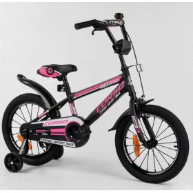 """Велосипед двоколісний CORSO Sporting 16 """" ST-16864, чорно-рожевий"""
