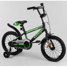 """Велосипед двоколісний CORSO Sporting 16 """" ST-16312, чорно-зелений"""