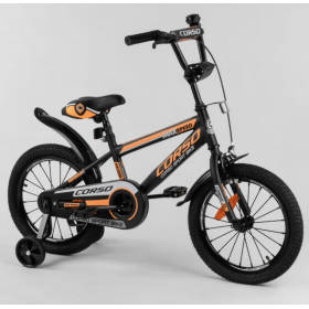 """Велосипед двоколісний CORSO Sporting 16 """" ST-16908, чорно-помаранчевий"""