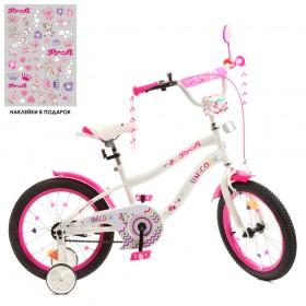"""Велосипед двухколесный Profi Unicorn SKD75 колеса 16"""", с наклейками, бело-малиновый"""