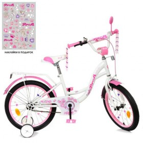 """Велосипед двухколесный Profi Butterfly SKD75 с наклейками 18"""" белый"""