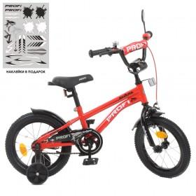 """Велосипед двоколісний Profi Shark SKD45 колеса 14"""", з наклейками, червоний"""