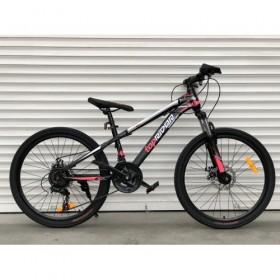 """Спортивный велосипед Toprider 611 24"""" черно-розовый"""