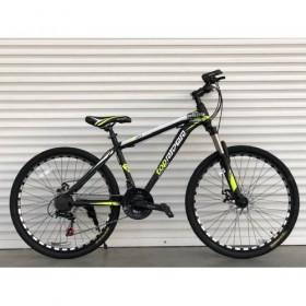 """Спортивный велосипед Toprider 611 26"""" черно-салатовый"""