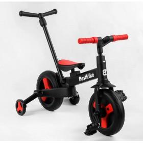 Велосипед-беговел 2 в 1, трансформер Best Trike 23031 с родительской ручкой, педалями, черно-красный
