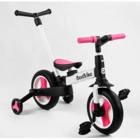 Велосипед-беговел 2 в 1, трансформер Best Trike 55475 с родительской ручкой, педалями, бело-розовый