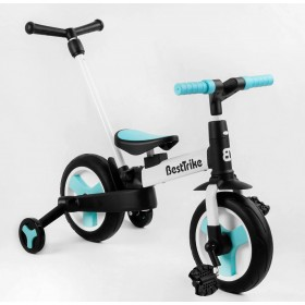 Велосипед-беговел 2 в 1,  трансформер Best Trike 56659 с родительской ручкой, педалями, бело-голубой