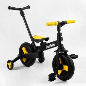 Велосипед-беговел 2 в 1, трансформер Best Trike 58195 с родительской ручкой, педалями, черно-желтый