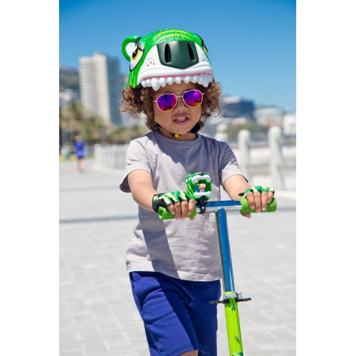 Защитный шлем Crazy Safety IN-MOLD с фонарем безопасности Зеленый тигр