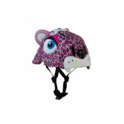 Защитный шлем Crazy Safety IN-MOLD с фонарем безопасности Розовый леопард