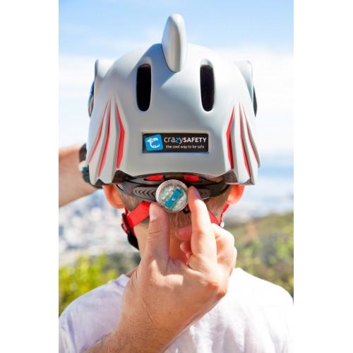 Защитный шлем Crazy Safety IN-MOLD с фонарем безопасности Белая акула