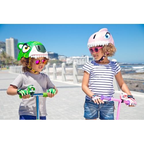 Защитный шлем Crazy Safety IN-MOLD с фонарем безопасности Розовая акула