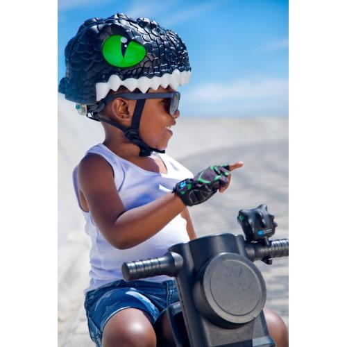 Защитный шлем Crazy Safety IN-MOLD с фонарем безопасности Черный дракон