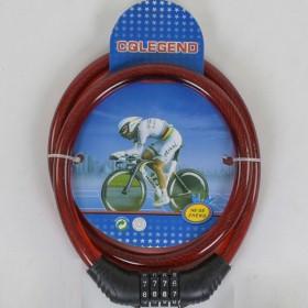 Велосипедный тросовый замокC40300, красный