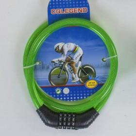 Велосипедный тросовый замокC40300, зеленый