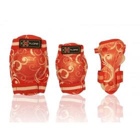 Защита Explore COOPER для колен, локтей, запястий, красная в цветочек