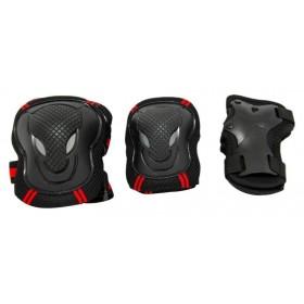 Защита Maraton Micro для локтей, коленей и запястий, черная с красными полосками