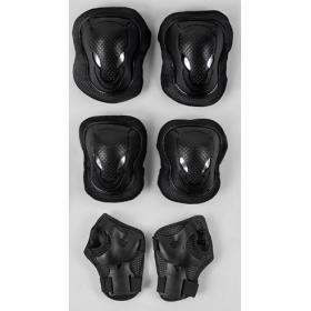 Защита при катании, комплект TK Sport, наколенники, налокотники, защита на запястья на липучках, черная