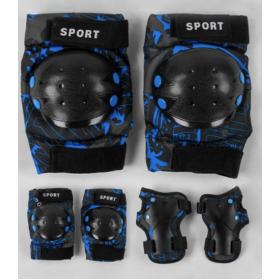 Комплект защиты при катании, TK Sport, С44544 наколенники, налокотники, защита на запястья, чулочного типа, черно-синяя